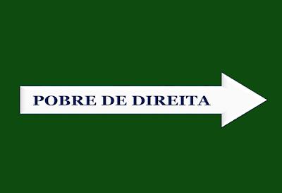 A imagem em forma de placa para trânsito em seta para direção da direita está escrita: pobre de direita.