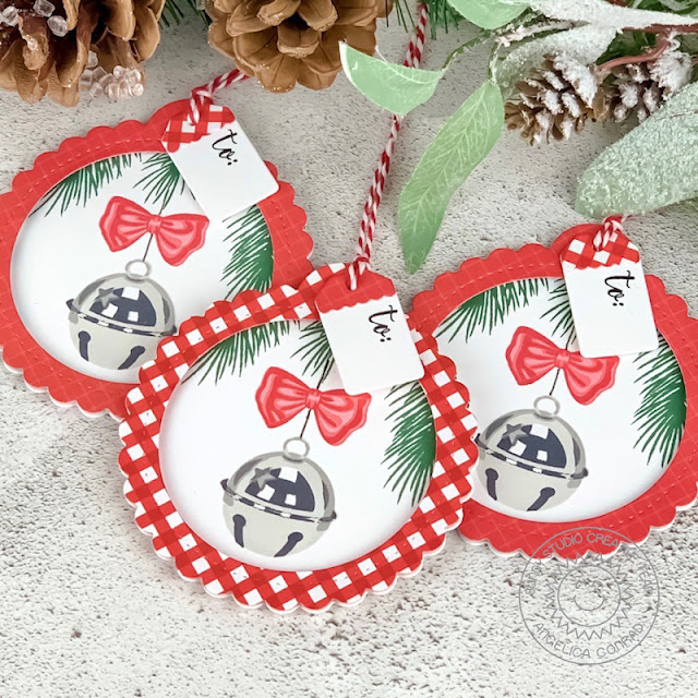 Sunny Studio Stamps: Scalloped Tag Dies Holiday Style Season's Greetings Christmas Gift Tags by Angelica Conrad