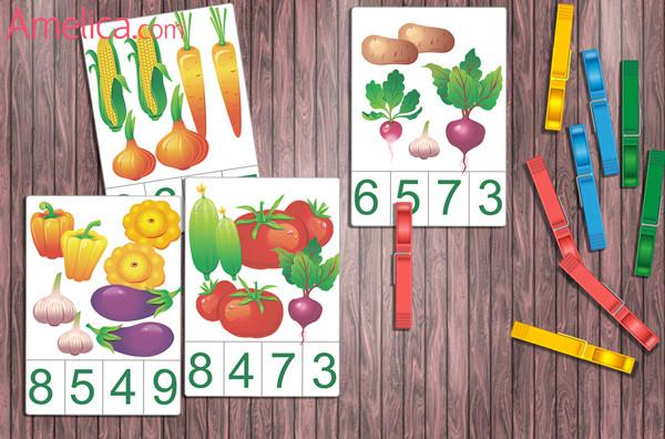 Развивающие карточки «Счет от 1 до 10. Овощи» для изучения цифр и проведения дидактических игр с прищепками
