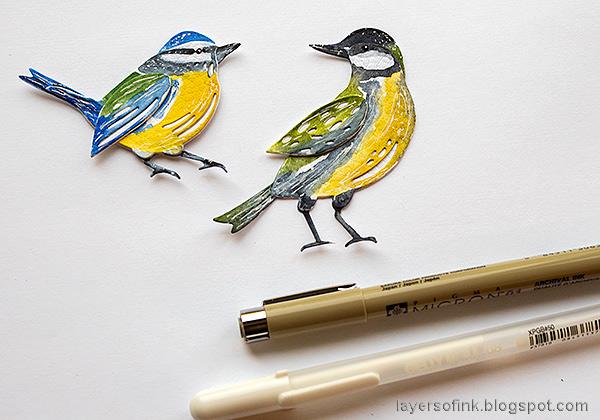 Layers of ink - DIY Bird Notebooks Tutorial by Anna-Karin Evaldsson. Add details to the birds.