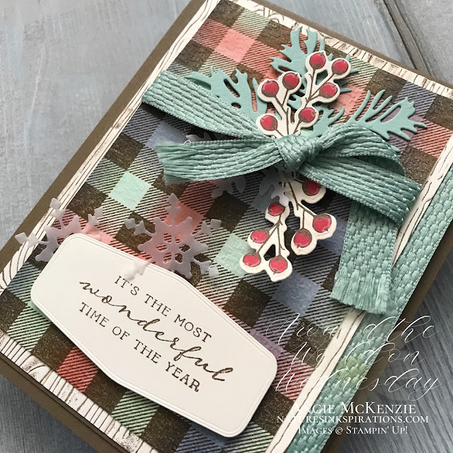 By Angie McKenzie for Around the World on Wednesday Blog Hop; Click READ or VISIT to go to my blog for details! Featuring the Buffalo Check Stamp Set, Beautiful Boughs Dies, Peaceful Boughs Stamp Set, Tasteful Touches Bundle, Tasteful Textiles 3D Embossing Folder, Pinewood Planks 3D Embossing Folder by Stampin' Up!® to create a texture you can feel on cards; #stampinup #cardtechniques #cardmaking #tastefultouchesbundle #buffalocheckstampset #peacefulboughsstampset #beautifulboughsdies #tastefullabelsdies #tastefultextilesembossingfolder #pinewoodplanksembossingfolder #naturesinkspirations #sponging #handmadecards #20202021annualcatalog #augdec2020minicatalog #stampinupinks #stampingtechniques #awowbloghop #aroundtheworldonwednesdaybloghop