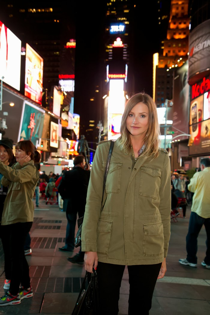 Vancouver Fashion Blogger, Alison Hutchinson, in New York checking out Top of the Rock and Times Square.