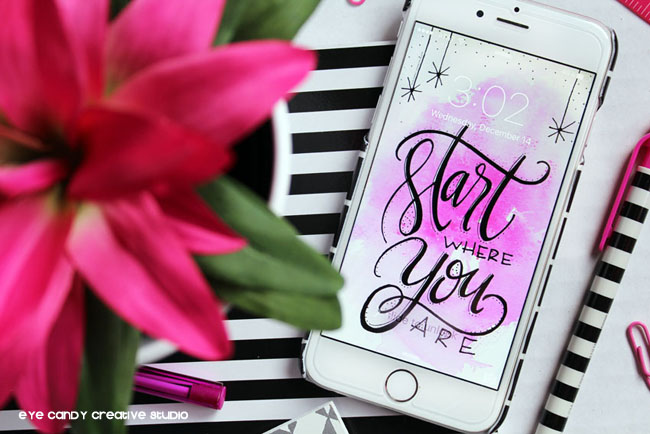 black & white, start where you are, pink watercolor, hand lettering