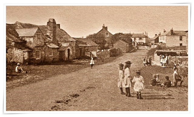1890 vintage photo of Tintagel, Cornwall and the old Post Office