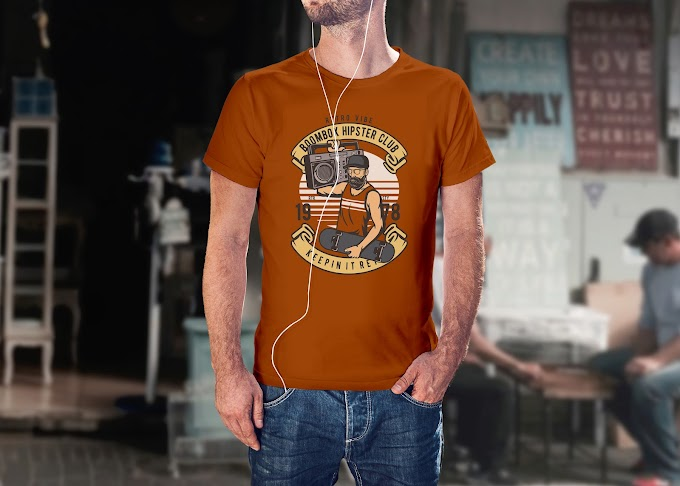 Retro Boombox Hipster T shirt Template