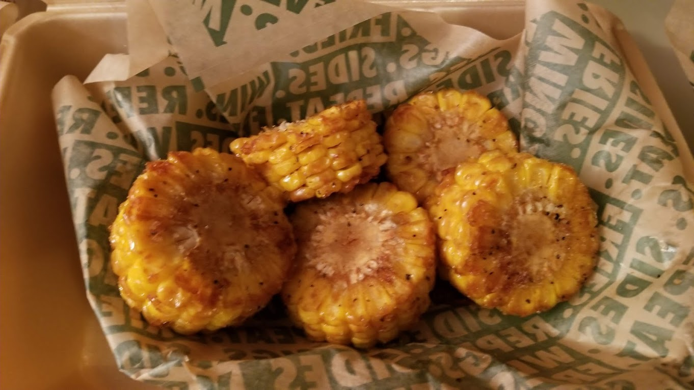 Mini corn on the cob with fry seasoning, from Wingstop