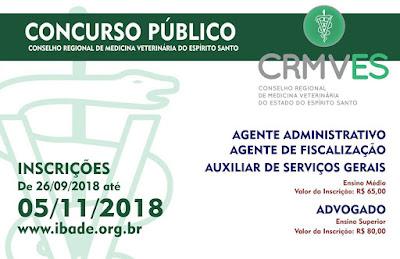 EDITAL CONCURSO PÚBLICO CRMVES 2018