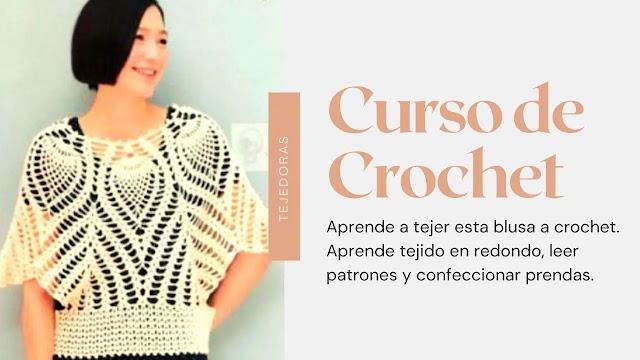 Taller virtual: Aprende a tejer una blusa a crochet con tejido en redondo