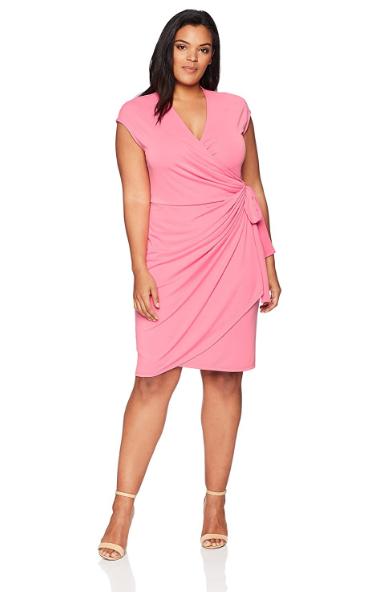 Plus Size Classic Cap Sleeve Wrap Dress