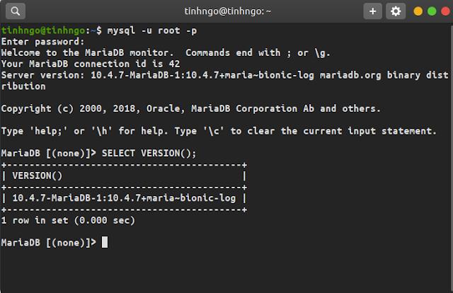 Hướng dẫn cài đặt MariaDB trên Ubuntu 18.04 LTS