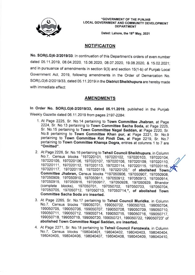 DEMARCATION OF TEHSIL COUNCILS AND ABOLISHED TOWN COMMITTEES OF DISTRICT SHEIKHUPURA