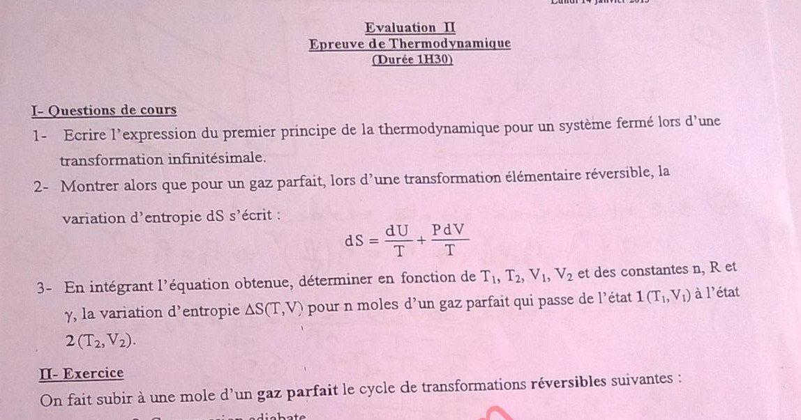 Exam Final Thermodynamique 1   Correction Smpc S1 Fsr 2012  13    Evaluation Ii