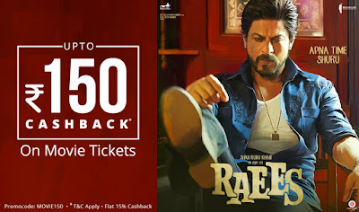 Paytm Movie Offer - Get Rs 150 Cashback Free On Raees & Kaabil (Promo Code - Coupon Code)