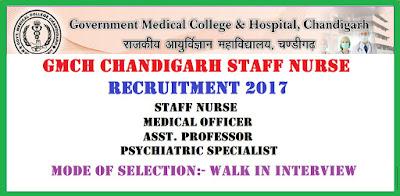 GMCH Chandigarh Staff Nurse Recruitment 2017 Latest Nursing jobs