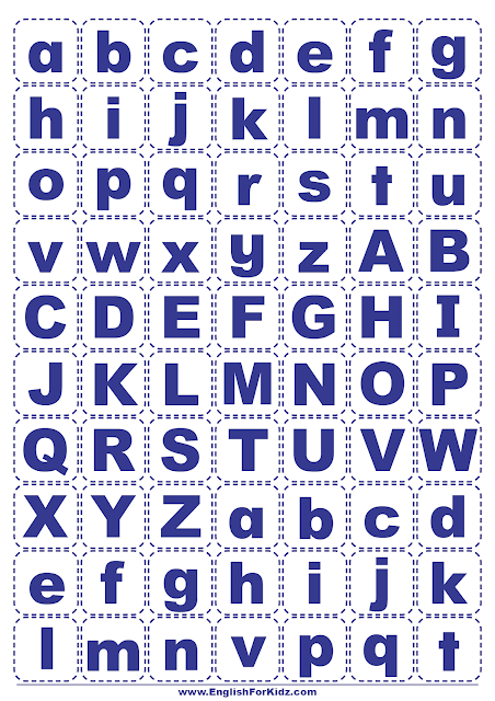Printable English alphabet game -- cut-out letters