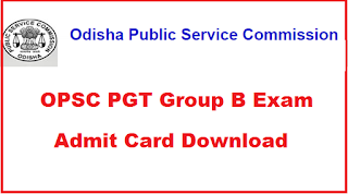 OPSC PGT Admit Card 2019 Download