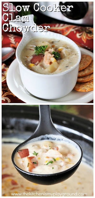 Slow Cooker Clam Chowder ~ This easy Slow Cooker Clam Chowder recipe delivers up classic New England-style deliciousness, with a little unexpected ingredient for extra creaminess and flavor.  www.thekitchenismyplayground.com