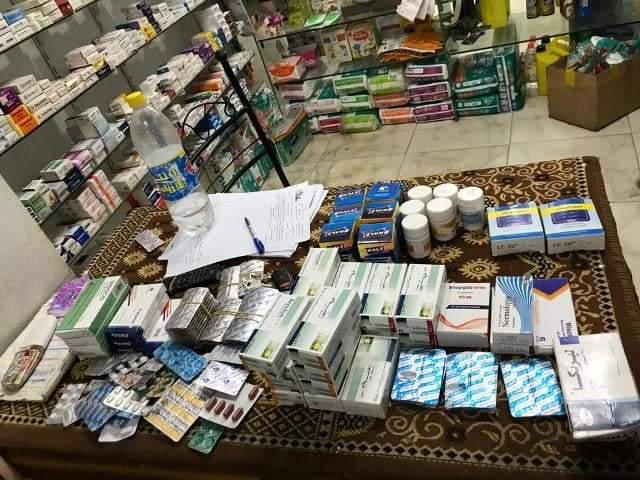 غلق وتشميع صيدلية وضبط وتحريز 1571 صنف دواء مخالف بمركز كفر صقر في محافظة الشرقية