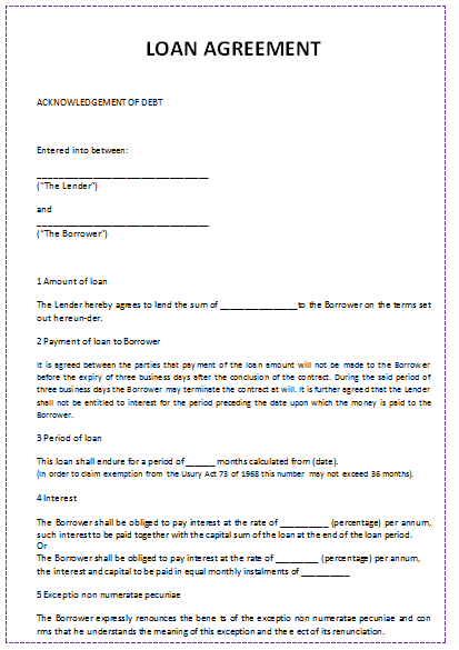 Document Templates: LOAN AGREEMENT TEMPLATE (IN WORD)