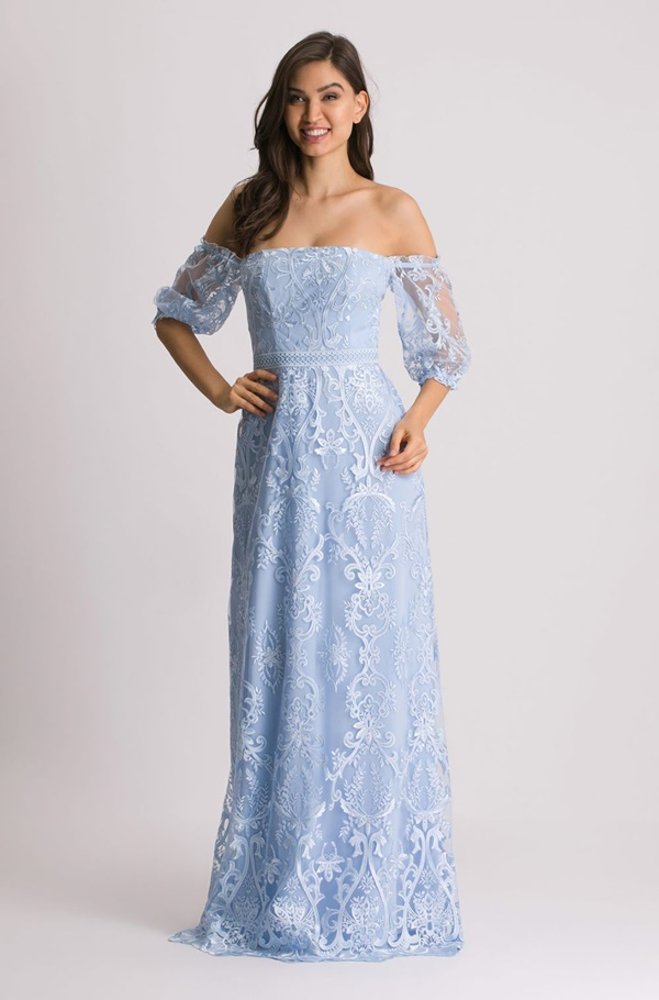 vestido longo azul serenity rendado para madrinha de casamento