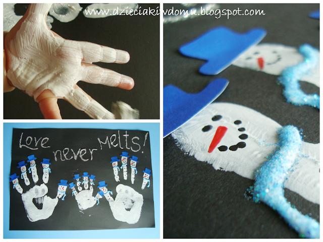 Bałwanki zrobione z rączek, zimowe kreatywne zabawy z dziećmi