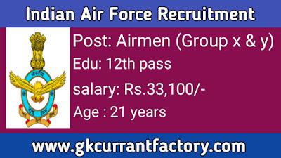 Indian Air Force Recruitment, Indian Air Force Airmen Group x and y Recruitment, Indian Air Force Jobs