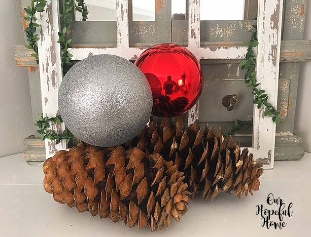 extra large red silver Christmas ball ornamanet sugar pine cone