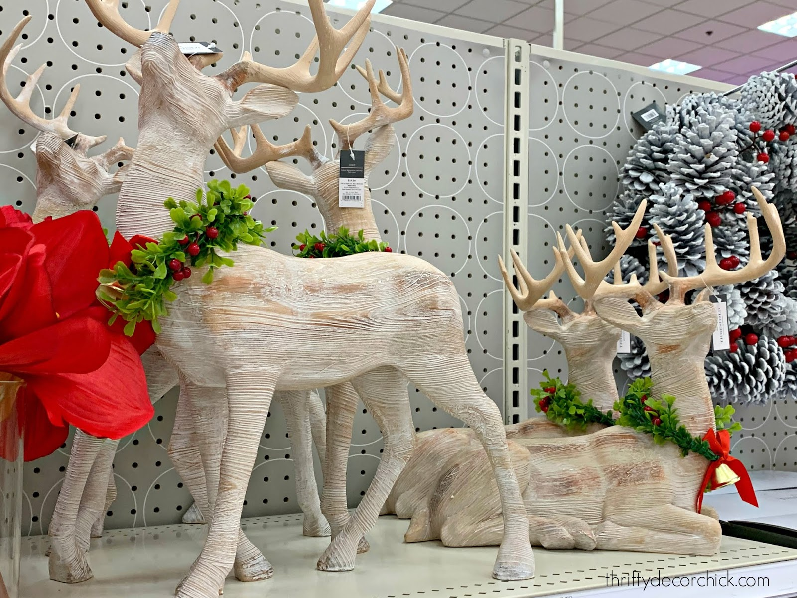 Large wood reindeer figurines