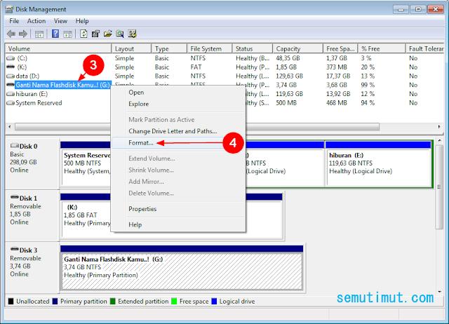 cara format flashdisk lewat diskpart