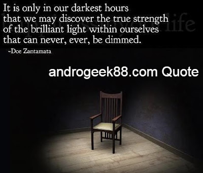 It is only in our darkest hours that we may discover the real strength of the brilliant light within ourselves that can never, ever, be dimmed.