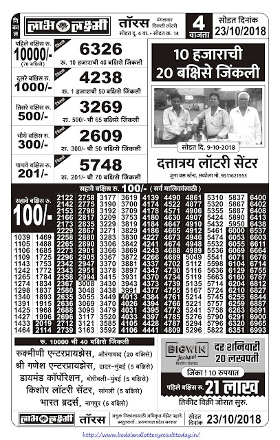 Labh Laxmi Lottery Result Today - 23-10-2018