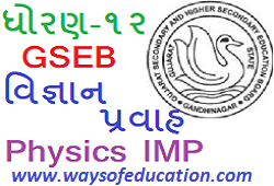 GSEB STD 12 SCIENCE PHYSICS SUBJECT IMP QUESTION AND IMP EXAMPLE SPECIAL MARCH 2020 EXAM