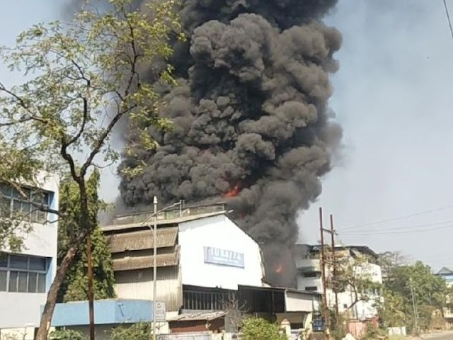 मुंबई में आग:पनवेल में एक केमिकल फैक्ट्री में भीषण आग, दमकल की 6 गाड़ियां आग बुझाने पहुंची
