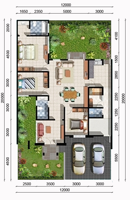 Denah rumah minimalis ukuran 12x20 meter 4 kamar tidur 1 lantai