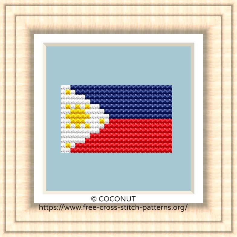 NATIONAL FLAG OF PHILIPPINES CROSS STITCH CHART