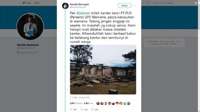 Cerita Karyawan PLN Wamena yang Nyaris Mati Dibakar Massa. Pak Jokowi, Jangan Sepelekan