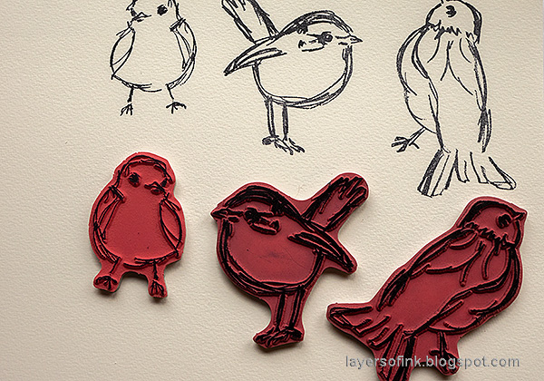 Layers of ink - Denim and Acrylic Paint Background Tutorial by Anna-Karin Evaldsson. Stamp birds.