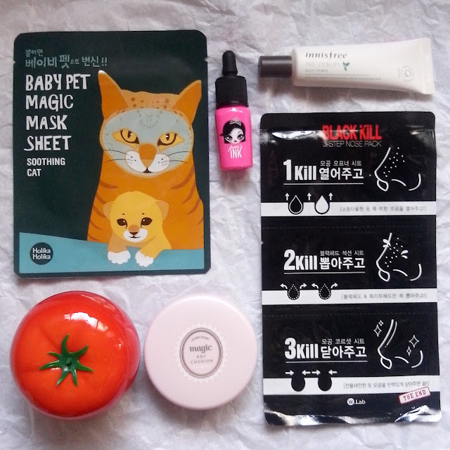 My haul consists of Holika Holika Baby Pet Magic Mask Sheet Soothing Cat Php 90, Tony Moly Tomatox Magic White Massage Pack Php 380, Etude House Magic Any Cushion Pink Php 620, Peripera Peri's Ink It Lips Php 390, Innisfree No-Sebum Blur Primer Php 450 and Black Kill 3 Step Nose Pack Php 70- all these for just Php 2,000!