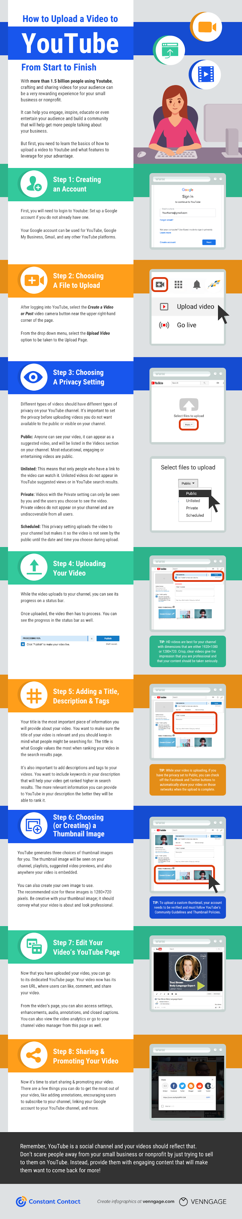 How to Upload a Video to YouTube from Start to Finish #infographic #Youtube #Videos #How to Upload