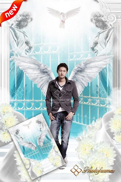 bonito fondo de la entrada al cielo o paraíso para fotomontajes de ángeles