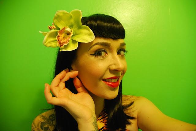Gigi Double Lime Green Hair Flower - Lady Luck's Boutique