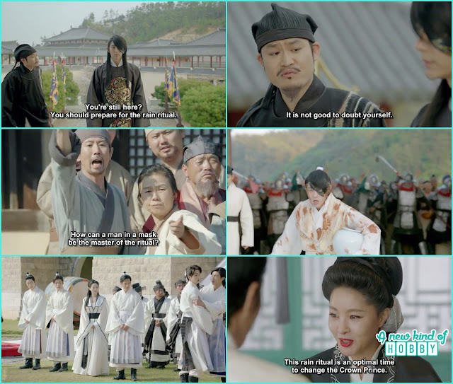 4th prince choosen for the rain ritual and when he go there every one throw stone at him as he is wearing the mask - Moon Lover Scarlet Heart Ryeo - Episode 8 - Review