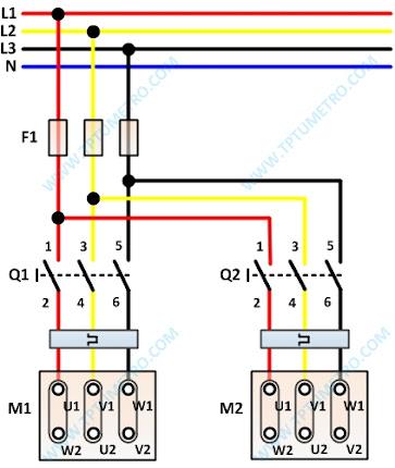 diagram pengawatan dua motor bekerja bergantian manual