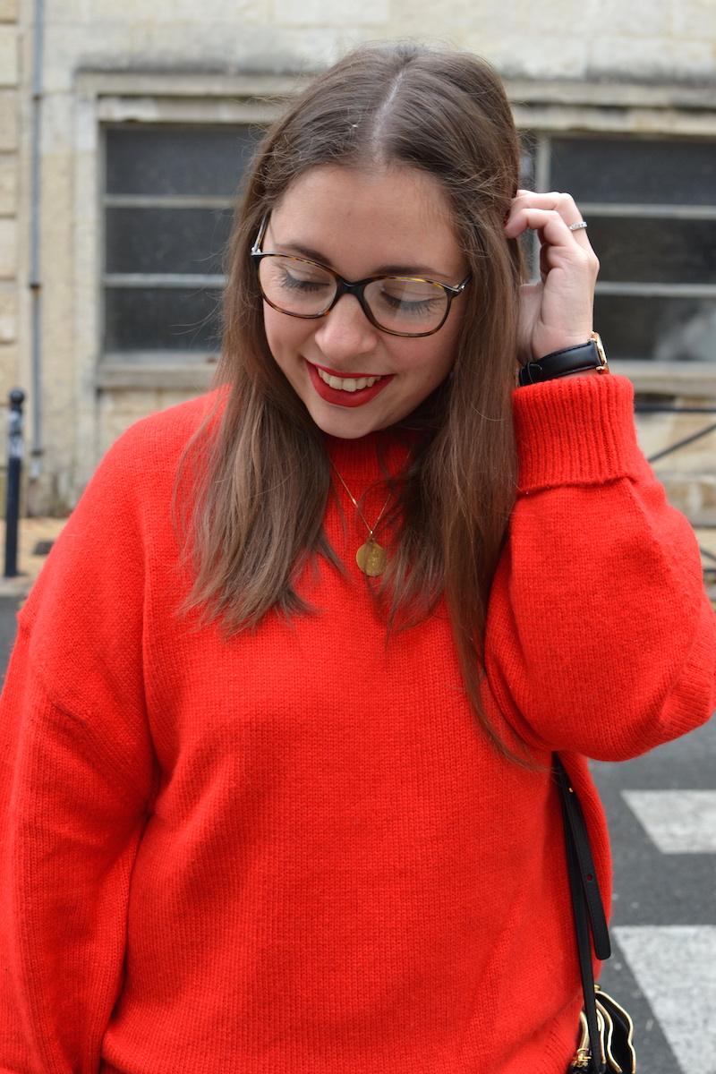 pull rouge H&M et trio bag céline