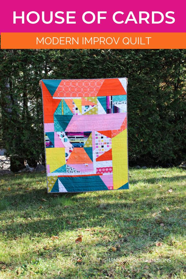 House of Cards Quilt in the Wild | Modern Improv quilting | Shannon Fraser Designs #artgalleryfabrics #modernquilt #quiltsinthewild #aurifilthreads
