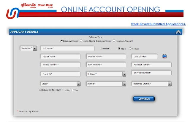 Zero Balance Account Opening Online - Union Bank of India Zero Balance Account Opening Online