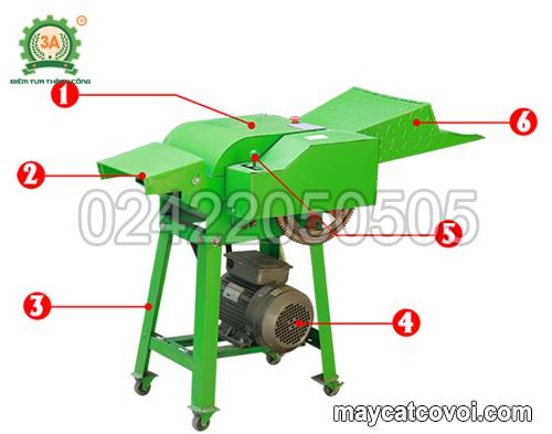 Cấu tạo của máy băm cỏ cho bò giá rẻ 3A2,2Kw