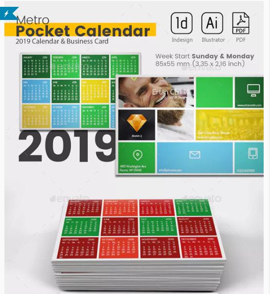 Pocket Calendar 2019 - Metro Style