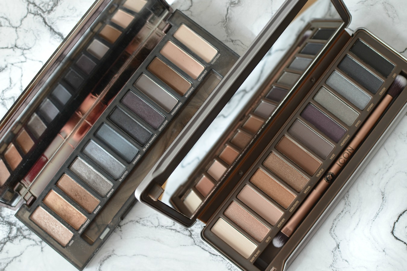 Swatches ICON de Absolute New York clon de Naked Smoky de Urban Decay