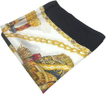 Designer Chain Pattern Silk Satin Scarf